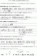 大津市にお住いのK.F様、49才、男性、会社員直筆メッセージ
